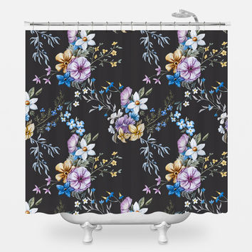 Victorian Flora in Blue Shower Curtain