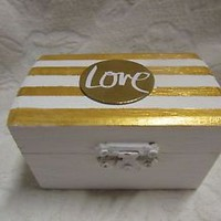 Gold White Striped Nautical Metallic Wedding Ring Bearer Pillow Alternative Box