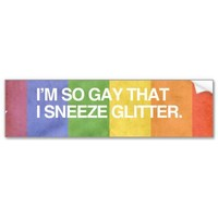 I'M SO GAY THAT I SNEEZE GL BUMPER STICKERS from Zazzle.com