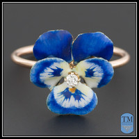 Vintage Enamel & Diamond Pansy Ring, 14k Blue Enamel Flower Ring