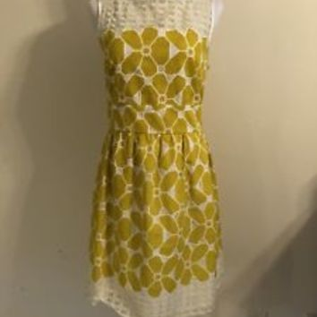 Gabby Skye Yellow Lace Fit & Flare Flower Dress Size 12