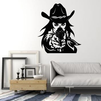 Vinyl Wall Decal Western Cowboy Hat Revolver Gun Cowgirl Stickers (2315ig)