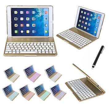 For Apple iPad 6 Air 2 Tablet Luxury Aluminium Folio Bluetooth Keyboard Protective Case Stand Cover With Colorful Backlit Light