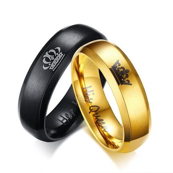 Crown Ring Stainless Steel Queen and King Couple Rings Gold Black Color Lovers Wedding Rings Love Promise Anniversary Jewelry