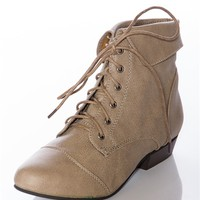 Stand Up for Style Fold Over Lace Up Boots - Beige from Boots at Lucky 21