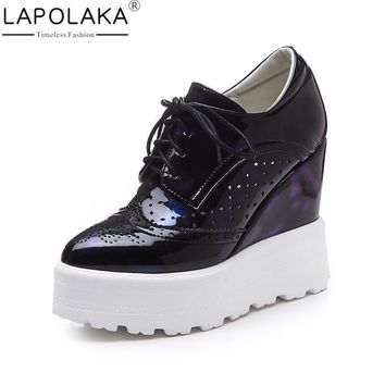 LAPOLAKA Hot Sale Women Vulcanize Shoes Lace Up Pointed Toe Wedges High Heels Platfor