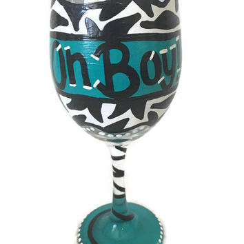 OH BOY Wine Glass - Baby Shower Wine Glass - Oh Boy - Baby Boy Baby Shower Gift - Gift for Mom - Aqua - Hand Painted Announcement Wine Glass