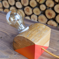 Modern reclaimed wood lamp