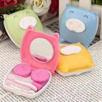 Travel Cartoon Piggy Contact Lens Case Soak Storage Box Hold Mirror Tweezer FINe