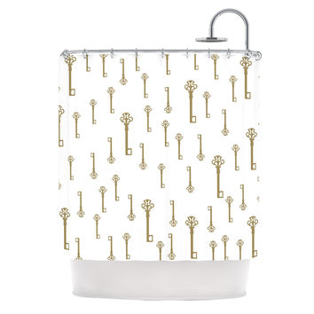 "Suzanne Carter ""Vintage Gold Keys II"" White Yellow Shower Curtain"