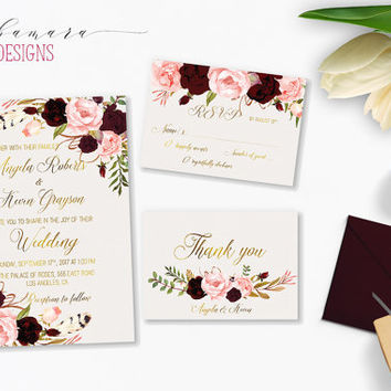Marsala Wedding Invitation Suite Burgundy Pink Digital Gold Letters Bohemian Wedding Invite Set Floral Printable Wedding Invite - WI018