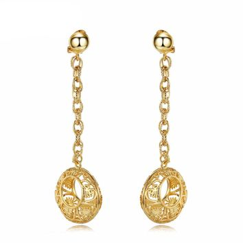 Gold Color Long Egyptian Hollow Round Dangle Earrings Metallic Party Jewelry