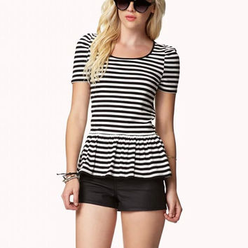 Stripe Short-Sleeve Ruffled Shirt