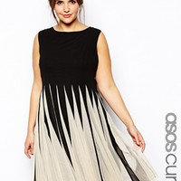 ASOS CURVE Fit & Flare Dress With Inserts In Mono - Mono
