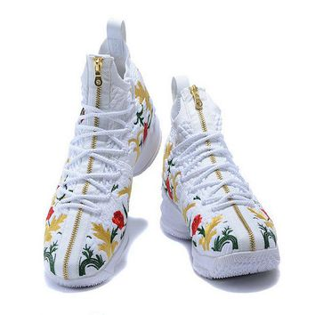 2018 Nike LeBron 15 XV Shoe Floral Embroidery White Red Gold