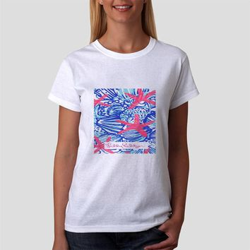 Classic Women Tshirt She She Shells Lilly Pulitzer Pattern