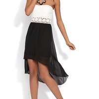 Strapless Dress with Open Lace Waist and Chiffon High Low Skirt