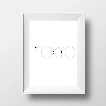 Tokyo,Japan.Printable poster,Instant download,Black and white,Home decor,Wall decor,Wall hanging,Word art,Printable poster,Inspirational art
