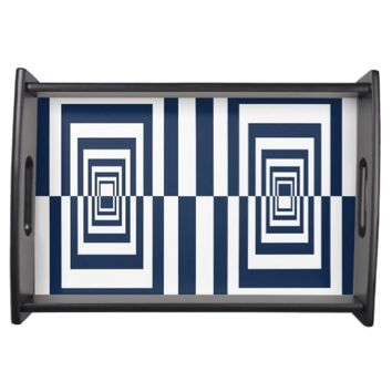 Blue And White Modern Geometrical Pattern Serving Tray