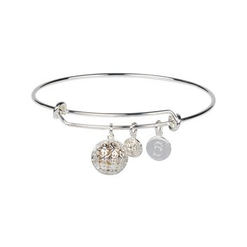 """S"" Initial Fragrance Bangle with Silver Tone Charm"