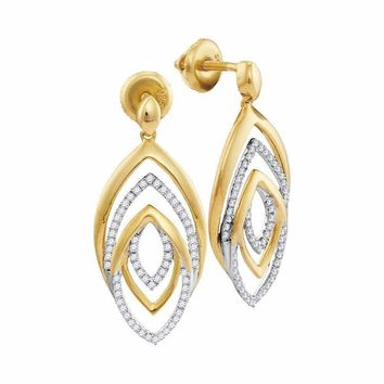 10kt Yellow Gold Women's Round Diamond Dangle Earrings 1-3 Cttw - FREE Shipping (USA/CAN)