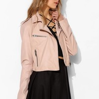 Silence + Noise Pinky Cropped Leather Moto Jacket - Urban Outfitters