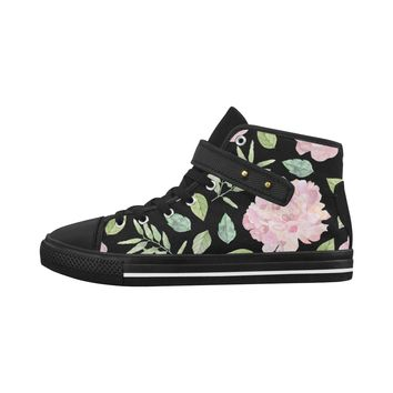 Floral Theme Black Aquila Strap Women's Shoes