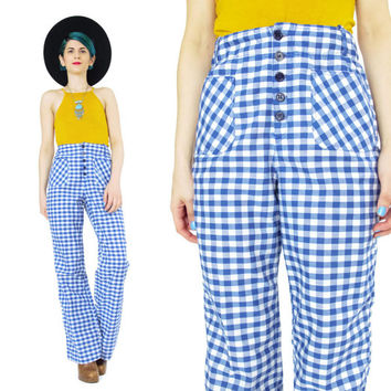 Vintage 1970s Checkered Pants 70s Bell Bottoms Blue and White Picnic Flared Leg Pants Cotton Pants Printed Womens Trousers Plaid Pants (S)
