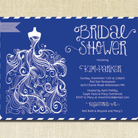Royal Blue Bridal Shower Invitation Gown Sketch Blue & White Striped Shabby Chic Modern Bride Wedding Gown Printable Digital or Printed- Kim