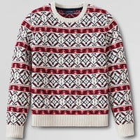 Men's Lambswool Fair Isle Crewneck Sweater from Lands' End