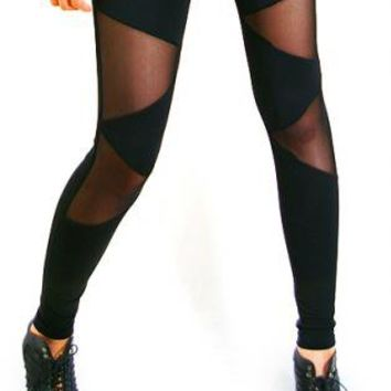 Triangle mesh leggings [Leggings,Tights,Bottoms,Pants]