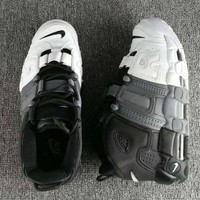 Nike Air More Uptempo Fashion Casual Running Sports Shoes BLack/Grey/White G