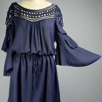 Plus Size Butterfly Sleeve Ruffle Dress