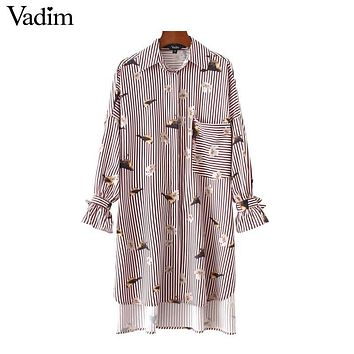 Vadim birds floral pattern striped oversized long shirts loose bot tie sleeve pocket side split casual chic blouse tops LT2222