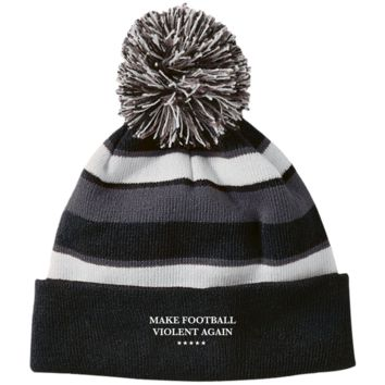 Make Football Violent Again Striped Beanie with Pom