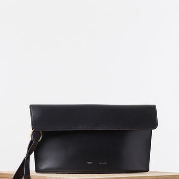 Curved Evening Clutch in Palmelato Calfskin