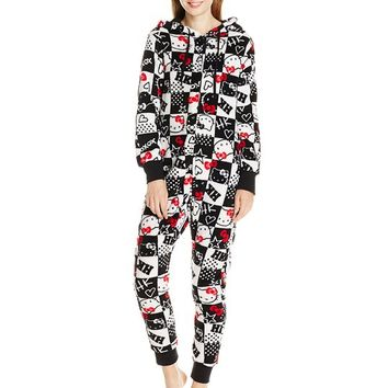 Hello Kitty Women's Hooded One Piece Pajama, Black/White, Medium