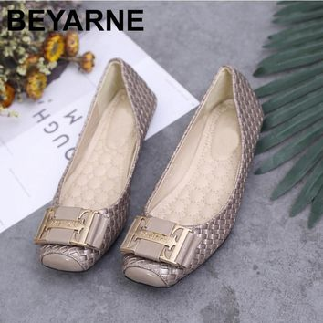 BEYARNE Decorative Metal Buckle Snakeskin Square Flat shoes Women shoes Free Shipping Plus Size: 35-42