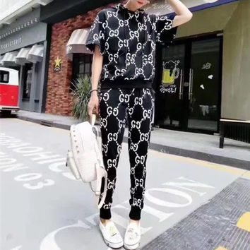 """GUCCI"" Fashion Personality Letter Print Hooded Short Sleeve Casual Set Two-Piece Sportswear"
