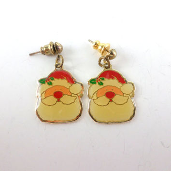 Santa Earrings Christmas Earrings Santa Claus Xmas Earrings Ugly Sweater Jewelry Vintage Christmas Earrings