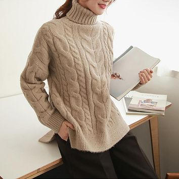 Autumn Winter High Collar Loose Jacquard Weave Pullover Sweater Elasticity All Matched Thick Knitwear Solid Color Jumper