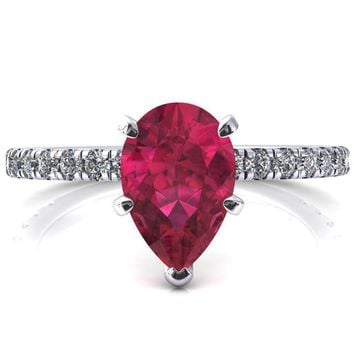 Sicili Pear Ruby 5 Prong 3/4 Micro Pave Diamond Engagement Ring