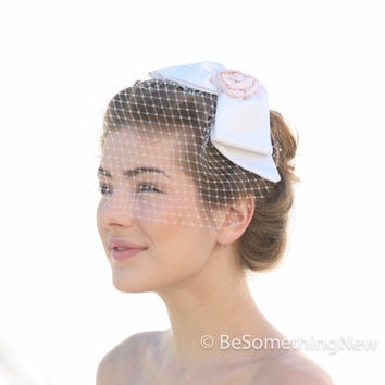 Silk Bow Wedding Comb with Birdcage Veil, Wedding Headpiece Wedding Veil, Bridal Headpiece, Bow Headpiece with Birdcage Veiling