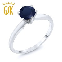 14K White Gold 1.00 Ct  Blue Sapphire Engagement Solitaire Ring