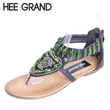 HEE GRAND Vintage Flip Flops 2017 Summer Bling Gladiator Sandals Green Rhinestone Slip On Casual Shoes Flats Woman XWZ3459