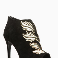 Anne Mitchell Black Mercury Winged Peep Toe Booties