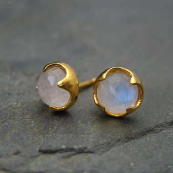 Moonstone studs, rainbow moonstone, rose cut studs, blue flash posts, white gemstone, iridescent posts, gold studs, thorn posts