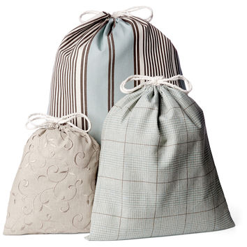French Laundry Home, Drawstring Bags, Spa Blue, Set of 3, Packing Sets