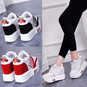 Leisure all-match women shoe 2017 muffin spring new thick bottom slope with the students inside the shoe lace shoes increased