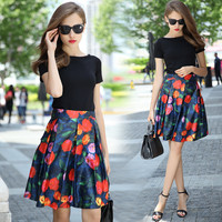 Dark Blue Floral Print High Waisted Pleated Skirt